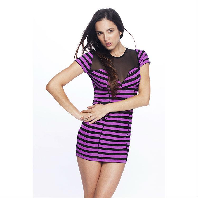 bbe0395a9f9b Long Sheer Dress Shirt Top With Purple Stripes - Buy Long Mesh Net ...