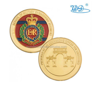 Newest 2d engraving iron imitation gold reeded edge soft enamel military school challenge coins