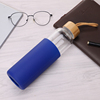 550ml Glass Water Bottle With Silicone Sleeve (Dark-blue)
