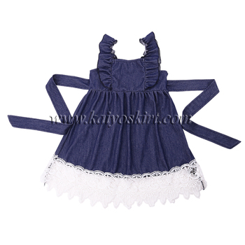 6bfea5e7f8 2018 lace denim children frocks designs kids clothing ruffle dress baby girl  party dress