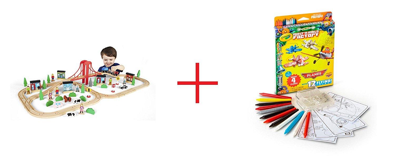 Imaginarium 80+ Piece Mega Train World and Crayola Melt 'N Mold Disney Planes Expansion Pack - Bundle