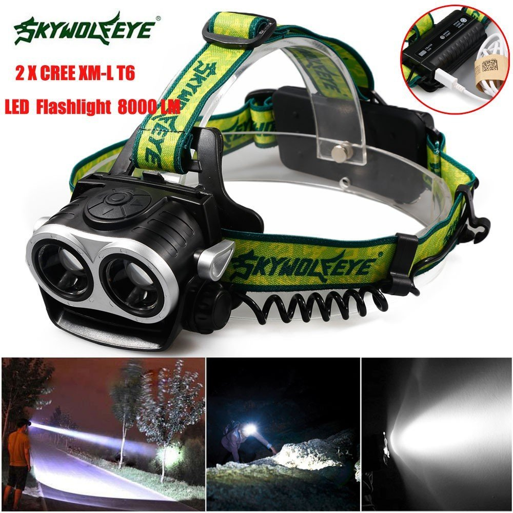LED Head Torch Flashlight, 8000LM 2X XM-L T6 LED Rechargeable 18650 USB Headlamp Headlight Head Light Torch Headlight Flashlight Light Lamp Tactical Flashlights for Sporting Outdoor Camping