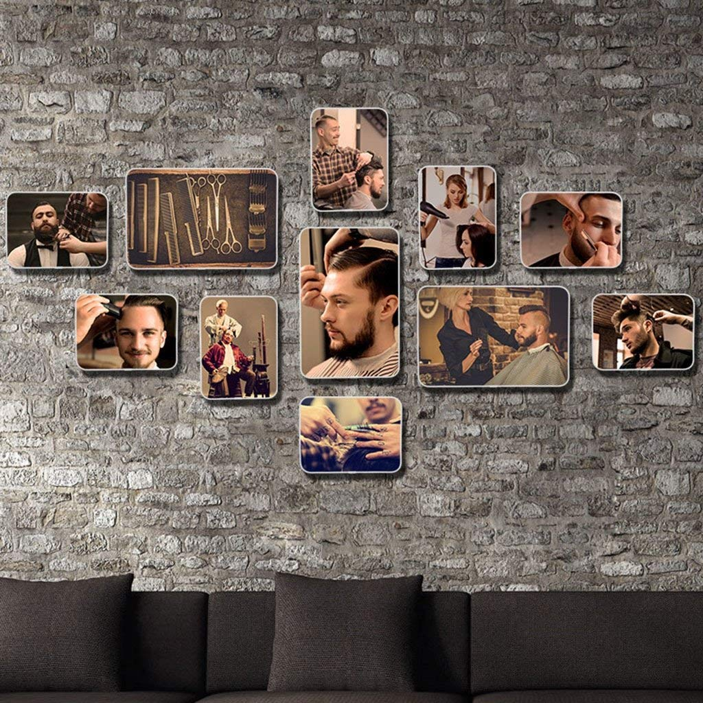 Home@Wall photo frame Retro hair salon Style Photo Frame Sets,Living Room Photo Frame Wall Creative Combination Sofa Background Frames Sets Of 11 ( Color : D , Size : 11frames/13075CM )
