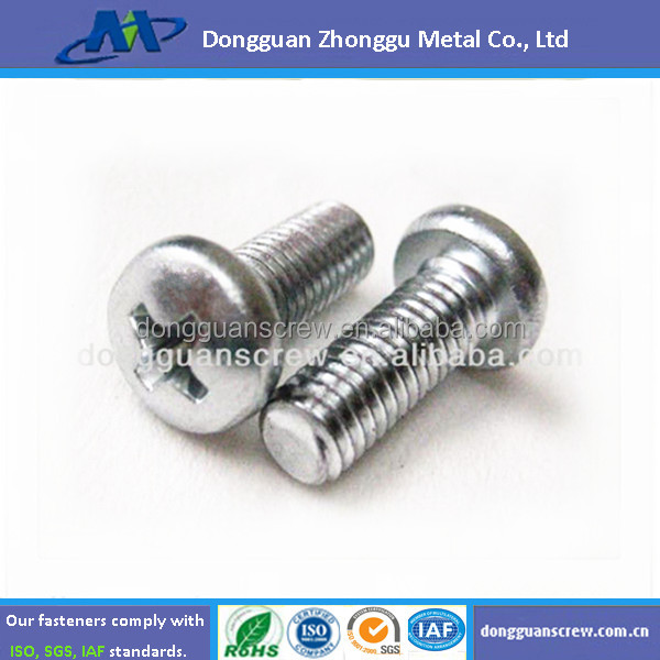 White Zinc plated Round cross machine screws