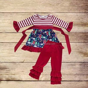 new arrival baby girls christmas 2pcs dress match pants clothing set kids Christmas wholesale boutique outfits