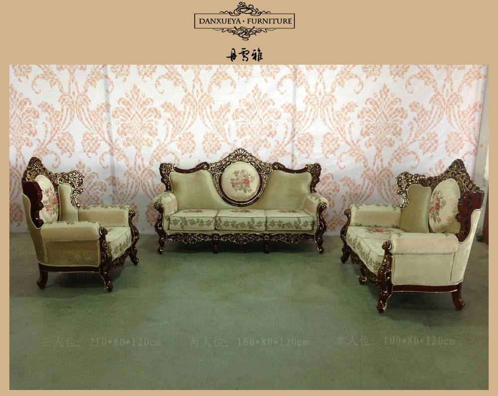 Antique Fabric Luxury Carved Sofa With Gold Living Room Sofa Set