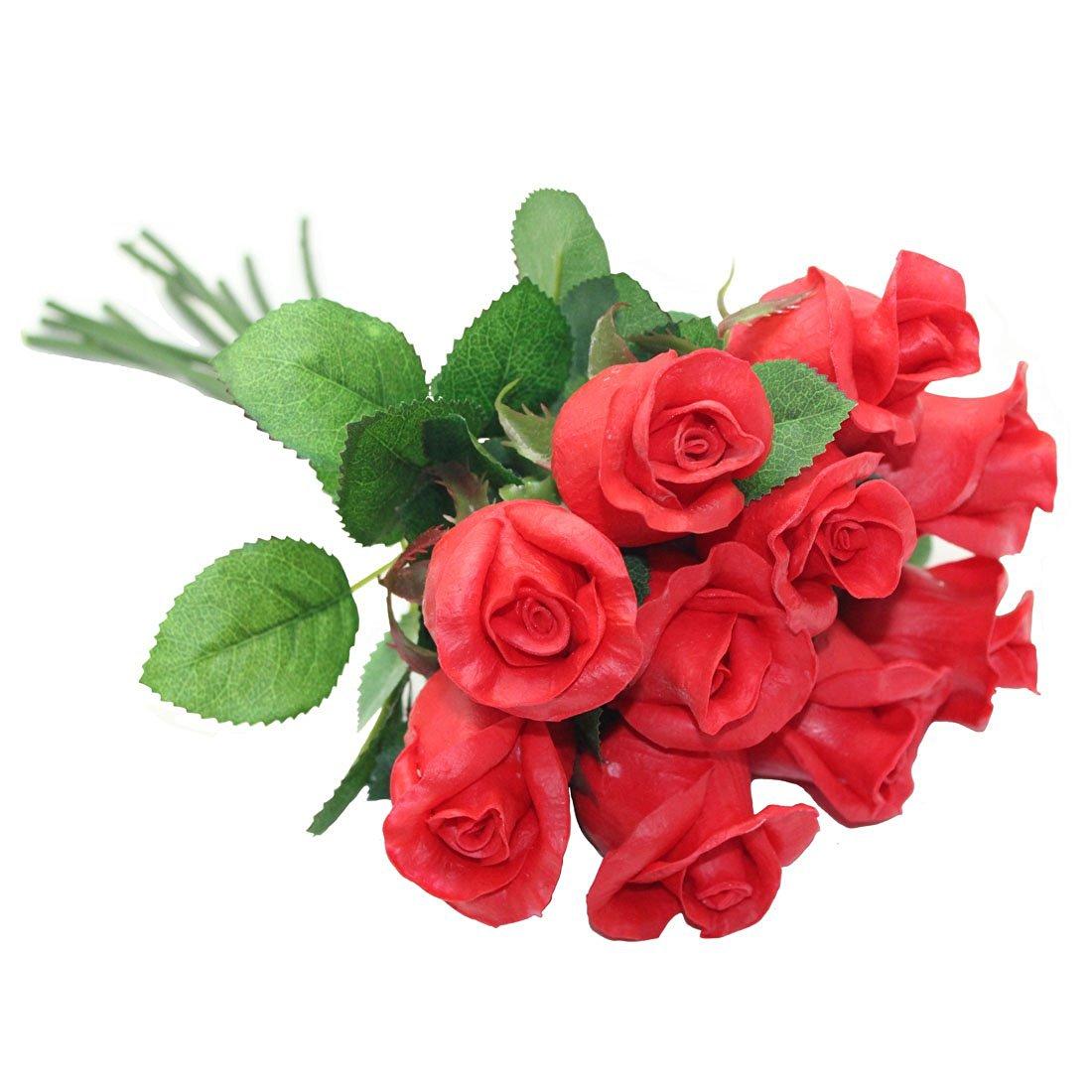 Cheap handmade fabric flower bouquet find handmade fabric flower get quotations decora a dazen high quality handmade pu artificial red rose flower bouquet for wedding bouquet izmirmasajfo