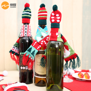 Christmas decorations cute Knitted Wine Garb Hat Scarf With Christmas Tree