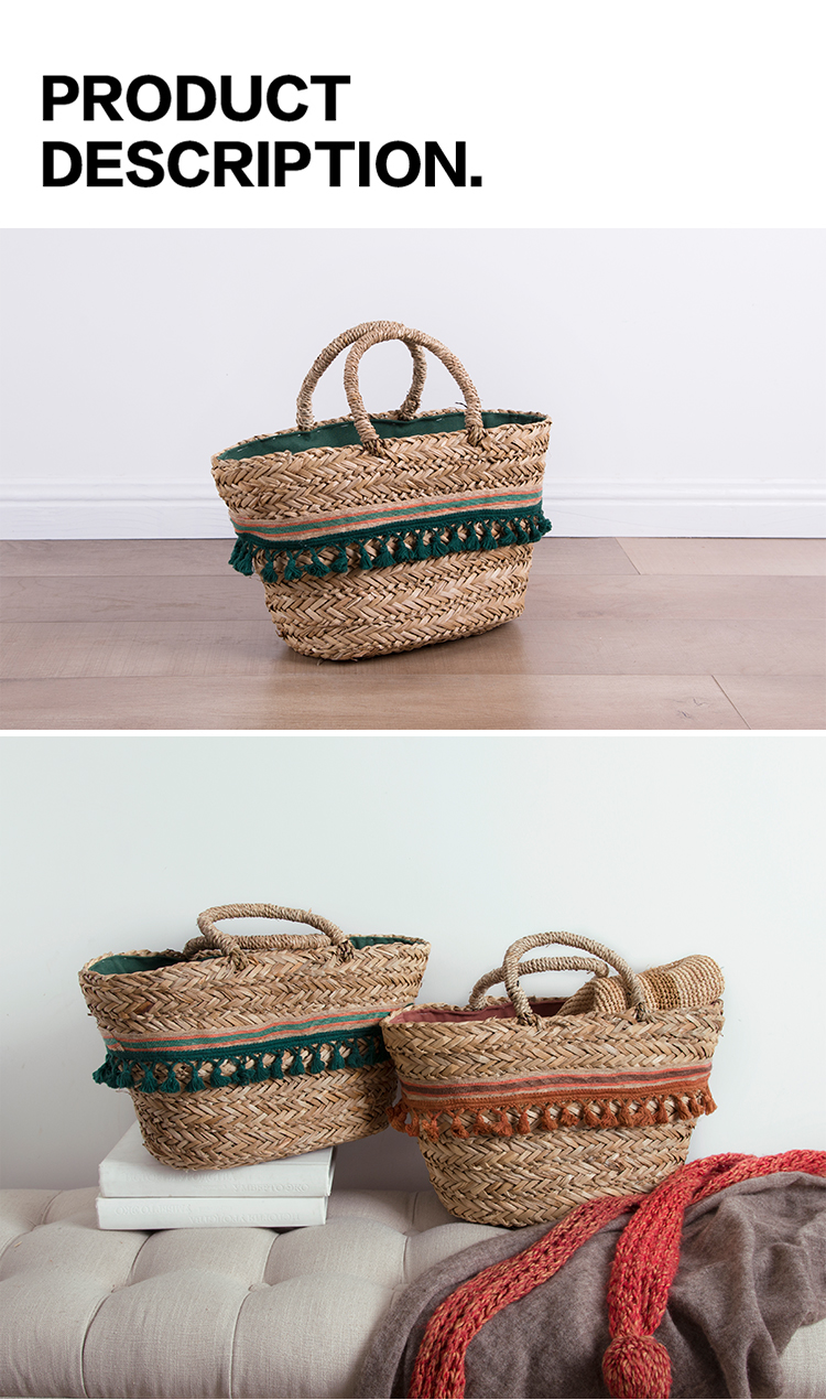 Handmade design straw beach handbag storage tassel seagrass lady women shopping tote bags basket set with the lining handles