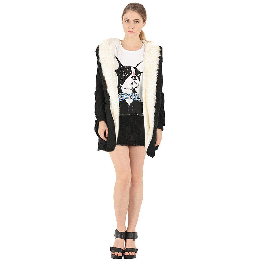 POTO Women Coats Clearance Sale,Ladies Thick Winter Warm Hooded Jackets Coat Parkas with Faux Fur Trench Coat Outerwear