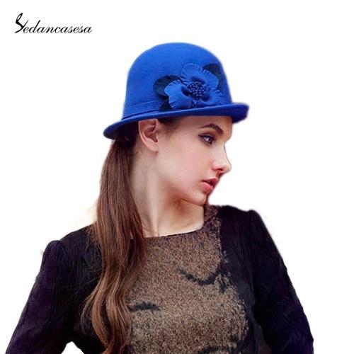 f44a92a018d Get Quotations · 100% Wool from Australian Cloche Women Elegant Trendy Wool  Hat Felt Bowler Roll Brim Hat