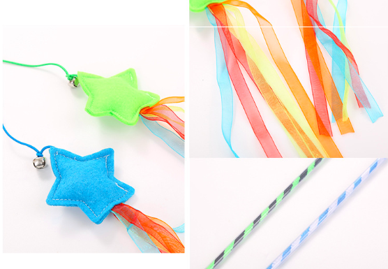 Best Selling Spring Cat Toy Plastic Natural Fun Cat Stick with Star and Bell