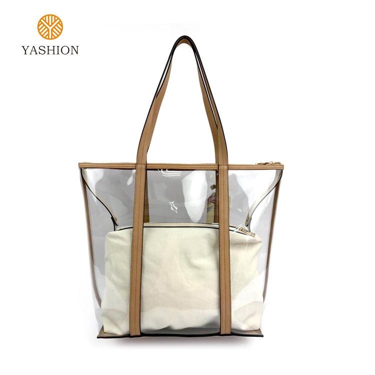 5f9b2027a 2019 faddish nuevo diseño de alta calidad tamaño de material de PVC de  doble bolsa bolso