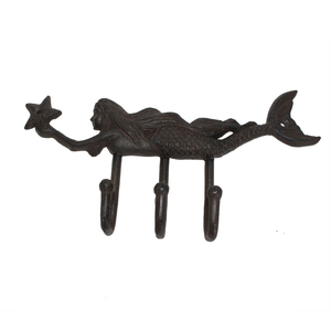Antique metal mermaid wall mounted clothes hanging hook for home decoration