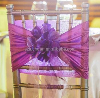 Newest Design Plum Fancy Chair Sashes For Weddings Ruffle Sash