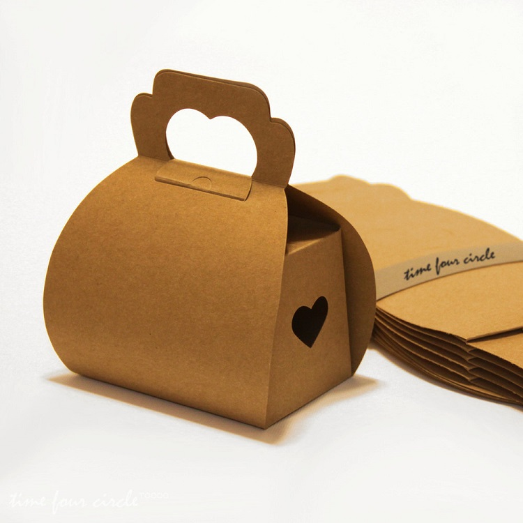 Kraft brown paper  custom printing clear window handle foldable birthday cake box
