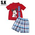 Luz do sol Do Miúdo Meninos Conjuntos de Roupas (Camisa + Shorts) 2016 Verão Roupa Dos Miúdos para Meninos Moda Bebê Meninos Terno