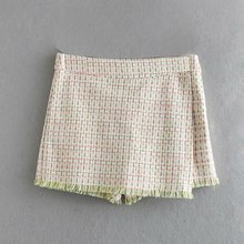 Sommer neue mode tweed plaid rock damen casual <span class=keywords><strong>shorts</strong></span>