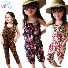 2015 new Arrival girl s summer suspender pants girl s flower Jumpsuits baby overalls loose trousers