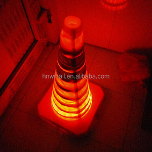 orange flashing retractable safety cone for road warning