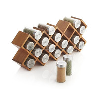 18 Spice Jar Bamboo Wooden Spice Rack