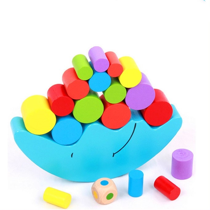 Colorful kids toys 2015 moon balance wooden toys teaching and educational DIY wooden blocks toys for children