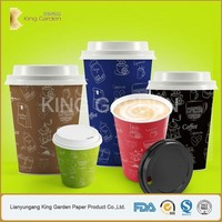 Kingarden leading factory insulated paper coffee cups with lids