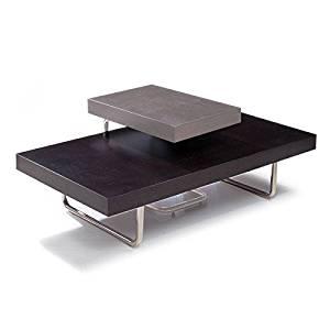 Rectangular Coffee Table With ]Tubular Steel Legs - Espresso