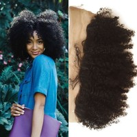 Natural Color Raw Indian Hair 13x4 Ear to Ear Afro Kinky Curl Human Hair Lace Frontal Piece