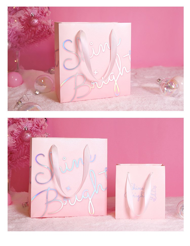 customized logo luxury pink paper shopping packaging bag for gift