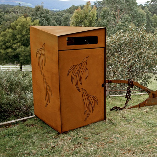 Mid century corten steel metal modern <strong>waste</strong> bin for urban street