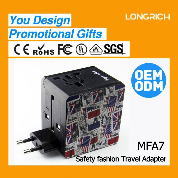 2014 longrich double USB travel adapter with6.3A fuse for gov line gift