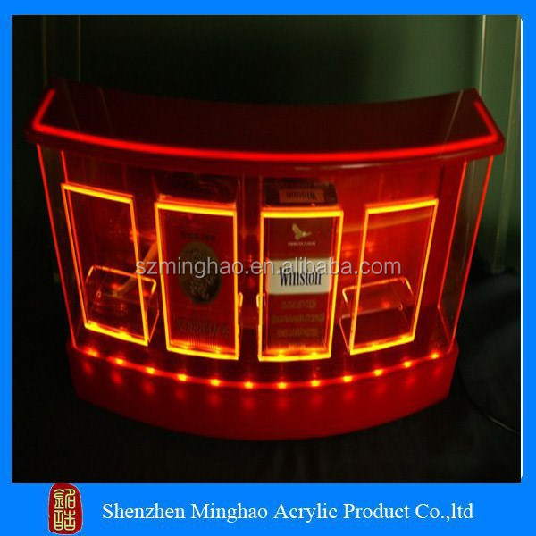 Red light acrylic led cigarette display holder tobacco display stand for shop
