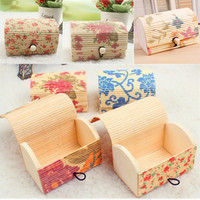 Decorative Handicraft Curtain Bamboo Wooden Packing Box With Lid