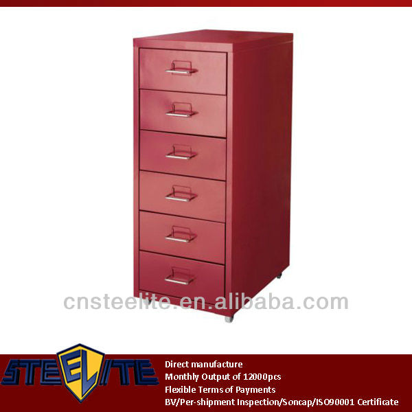 under desk red helmer six drawer cabinet series / Korea popular tall narrow 6-tier chest of drawers with wheels