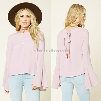 6cf5b8949a 2018 Most Popular Trendy Fashion Women Clothing Backless Designs Long  Sleeve Flare Sleeve Lady Shirt Tops