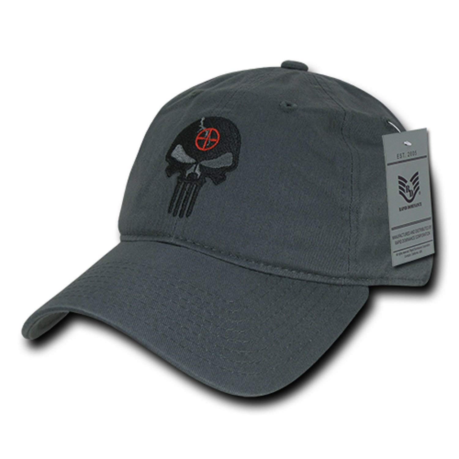 49c7c3fd Get Quotations · BHFC Charcoal Gray Punisher Skull Military Navy Seal  Special Forces Relaxed Polo Baseball Hat Cap