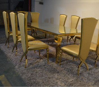 Modern Stainless Steel Frame Glass Top Gold Square Dining Tables