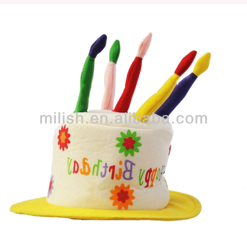 Kids Party Birthday Day Event Cake Shape Hat With Candle MH 1714