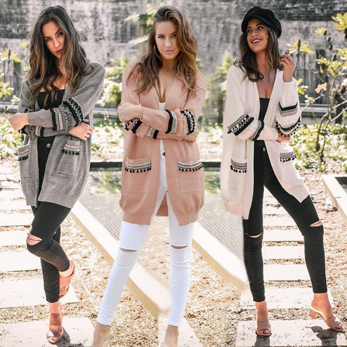 2018 neue Frauen Dame Strickjacke Mantel Gestrickte Taschen Langarm Mode Für Winter Herbst LBY2018