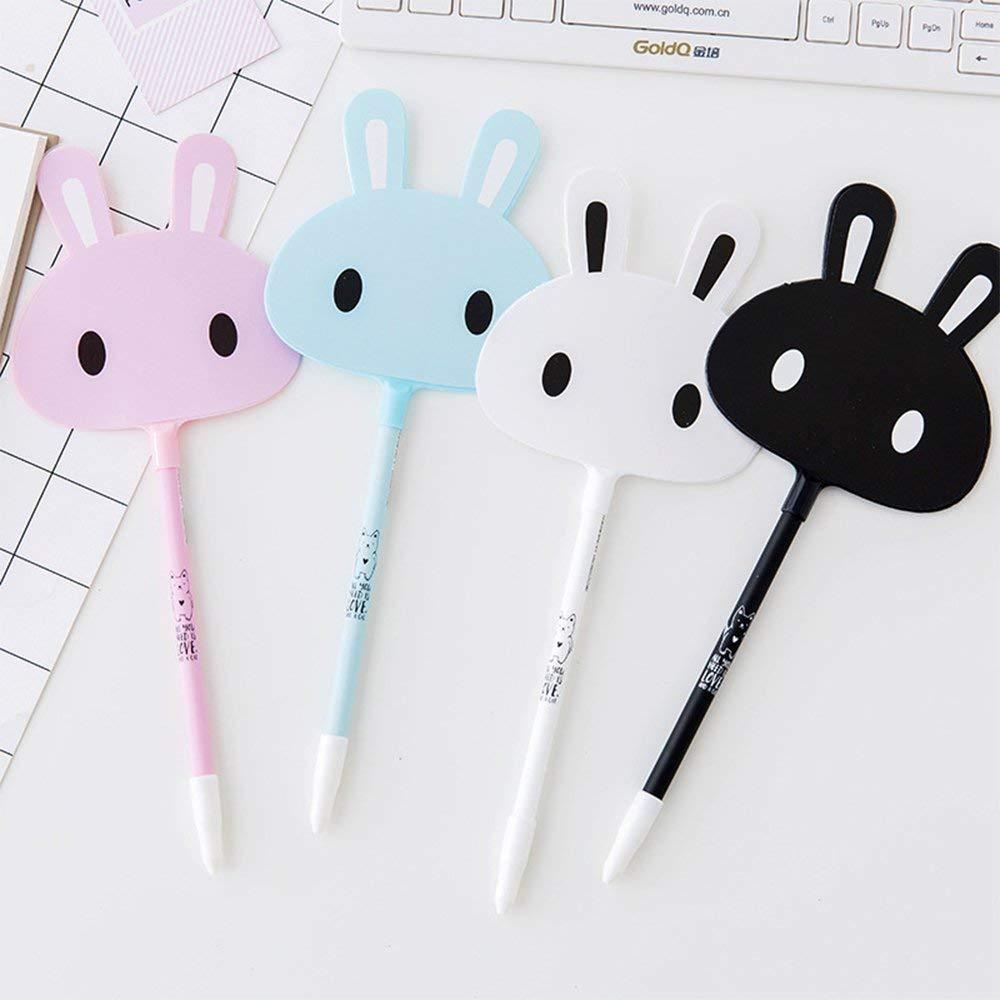 8 Pack Korean Cartoon Kawaii Bunny Rabbit Fan Shape Gel Ink Pens 0.5mm Animal Design Rollerball Maker Pens School Stationery Writing Pen Nurse Office Supplies Student AwardGift for Kids Children