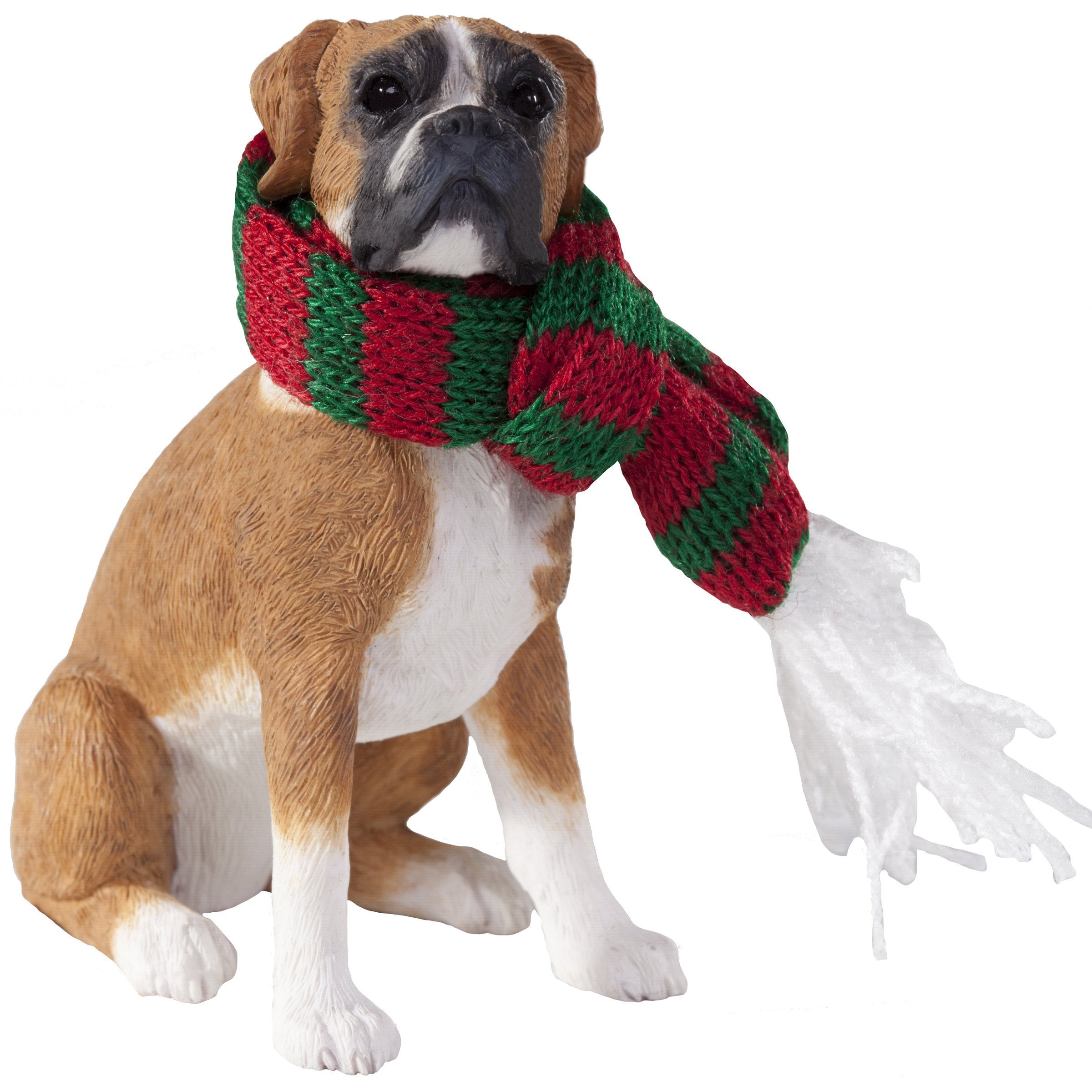 Sandicast Fawn Boxer with Red and Green Scarf Christmas Ornament