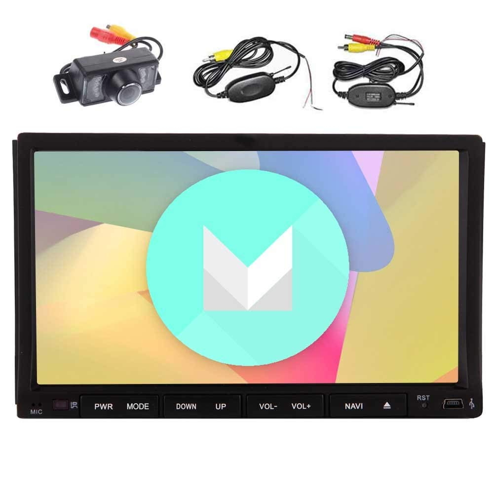 Wireless Rear Camera included! EinCar Car Stereo with Android 6.0 Quad Core 7'' Double Din Car DVD Player HD Touch Screen In Dash GPS Navigation Car Radio Receiver Support OBD2 WiFi 1080P BT