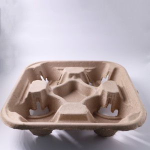 China Supplier Customized 4 Cup Paper Pulp Cup Carrier / Holder / Tray Take Away