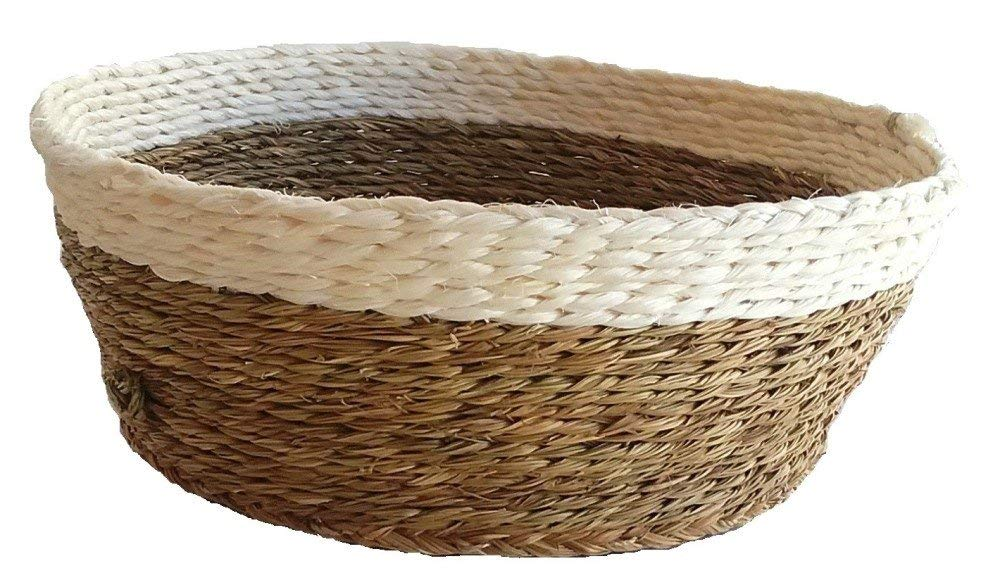 "African Fair Trade Hand Woven 8"" Bread Basket, Natural/White"