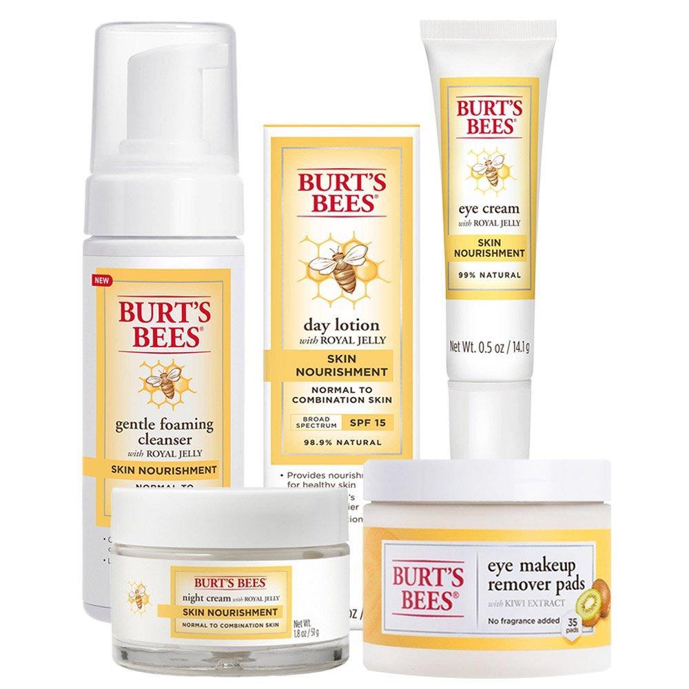 Burt's Bees Skin Nourishment Set -- Night Cream, Eye Cream, Day Lotion, Foaming Cleanser, Makeup Remover Pads