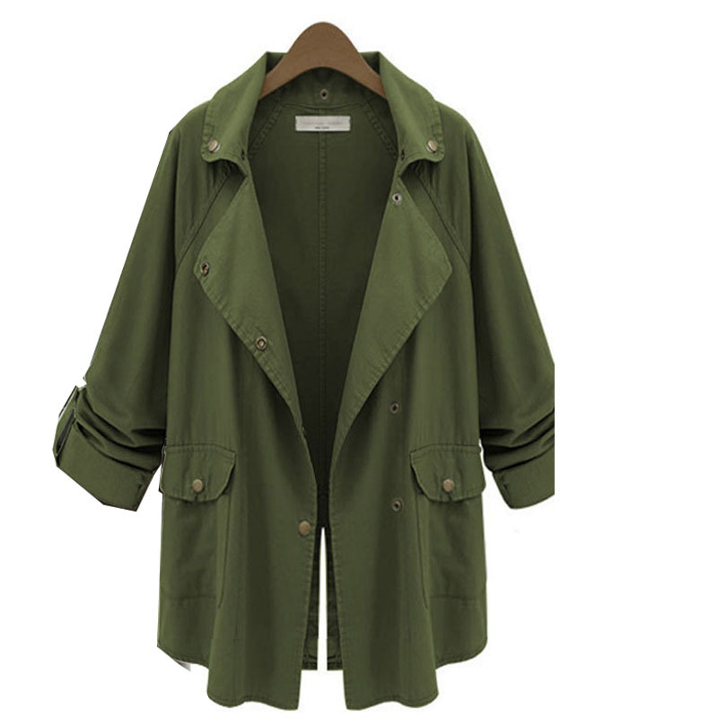 2015 New Women's Army Green Trenchcoat Autumn Winter Fashion Button Style Windbreaker Turn-Down Collar Coat Overwear
