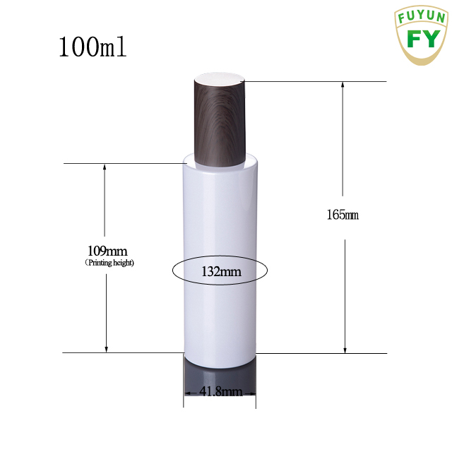 Fuyun Wholesale White 100ml  bamboo stype cosmetic packaging bamboo lotion frosted glass bottle with wooden caps