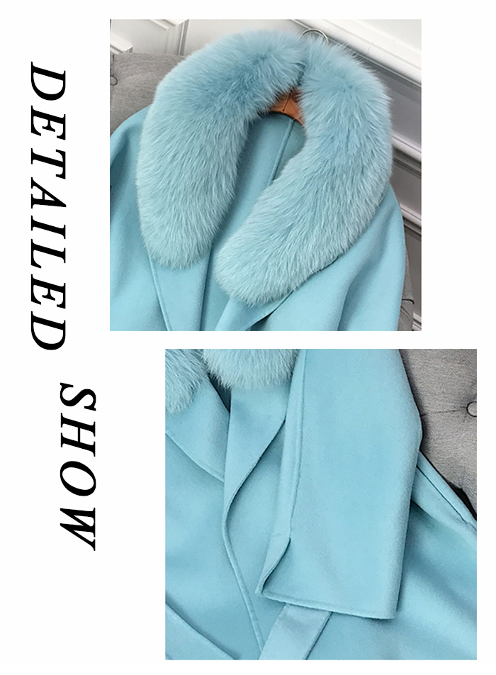Janefur Spring Ladies Woolen Coat for Outwear New Fashion Cashmere Trench Coat with Real Fox Fur Collar