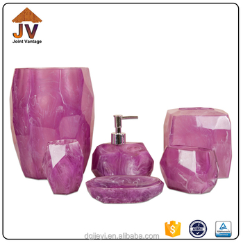 Bathroom Accessories Purple clear poly resin bath accessory bathroom set,purple bathroom